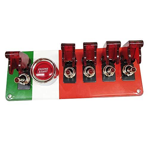 Fesjoy Panel de interruptores, Panel de Interruptor de Encendido abatible DC12V, botón de Arranque del Motor del Coche Panel de Interruptor de Palanca LED para Coche de competición Deportiva de Car