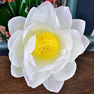 yijiang New Artificial Flowers Artificial Lotus Flowers Silk Floral Fake Arrangement Lotus Bouquets Home Party (Color : White)