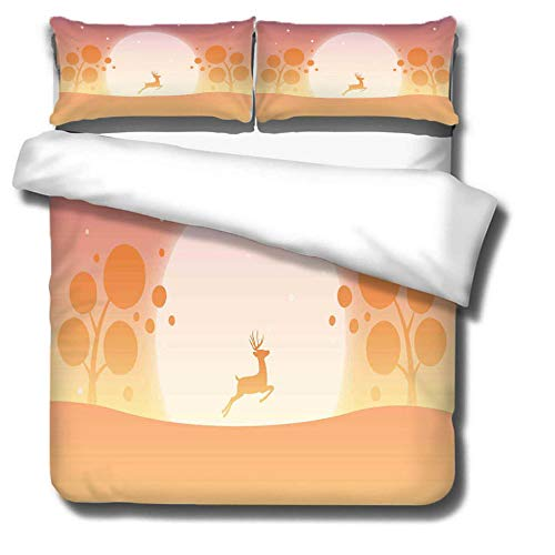 Prinbag Sika deer on the top of the mountain sunset scenery cartoon duvet cover 3-piece bedding