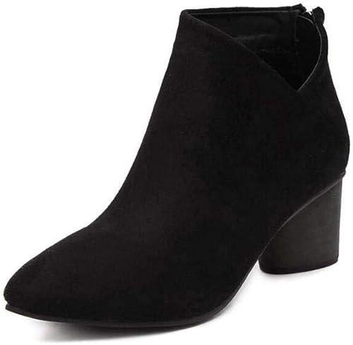 Femmes Martin Botte Cheville démarrageie 6Cm Morceau Talon Pointu Orteil OL Caual Court Chaussures Robe démarrage UE Taille 34-40