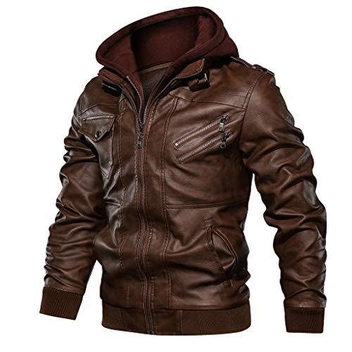 Landscap Men's Leather Motorcycle Jacket Hoodie Zipper Fashion Vintage Casual Outdoor Windbreaker Jacket Coat(Brown,3XL)