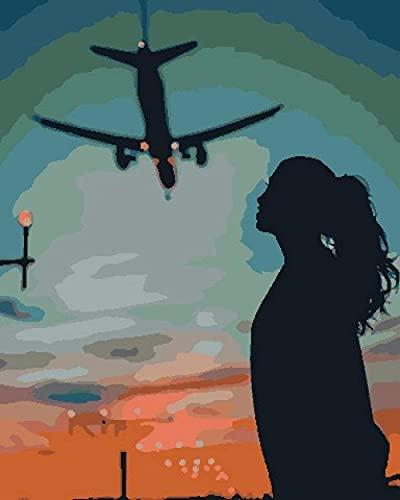 Pintar por Numeros kit Adultos Niños Avión de niña para DIY Pintura por números con Pinceles y Pinturas Decoraciones para el Hogar regalo de cumpleaños 40 X 50 cm sin Marco