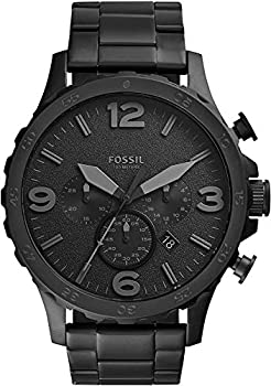 Fossil Men s Nate Quartz Stainless Steel Chronograph Watch Color  Black  Model  JR1401