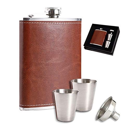 DIIQII 8oz Flasque a Alcool Cuir avec Entonnoir,Fiole Acier Inoxydable avec 2pcs Tasses pour Voyage Pêche Camping Et Escalade,Stocker du Whisky ou de lalcool