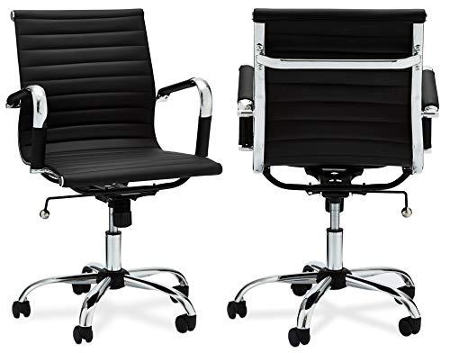 Ibbe Design Ergonomisch Schwarz Kunstleder Bürostuhl Schreibtischstuhl Designo mit Armlehne,Höhenverstellbar,Drehstuhl,Belastbar 150kg,L54x B65x H100 cm