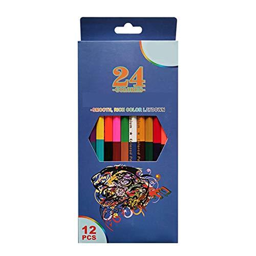 Lapices Colores ZWRY 24 colores 12 piezas Lápiz de plomo de color de doble cabeza Lápices de colores de madera para dibujar Papelería Accesorios de oficina Material escolar 12 piezas 24 colores