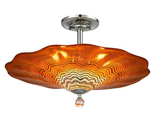 "Dale Tiffany AH18003 Titan Flush Mount Ceiling Light, 20"", Amber"