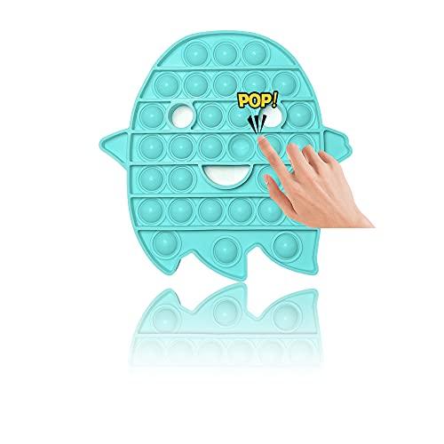 PIANETA Pop it Push it Fidget Toy, Pop Bubble, Juguete sensorial para aliviar la ansiedad, para niños y Adultos (Ghost )