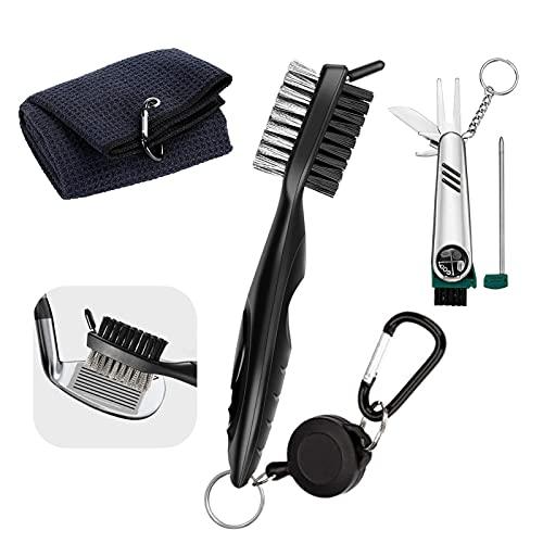 JOLIGAEA 3 Stücke Golf Zubehör Set, mit Golf Handtuch, Golfschläger Bürste und Faltbares Multifunktionswerkzeug, Golf Zubehör für Herren&Damen