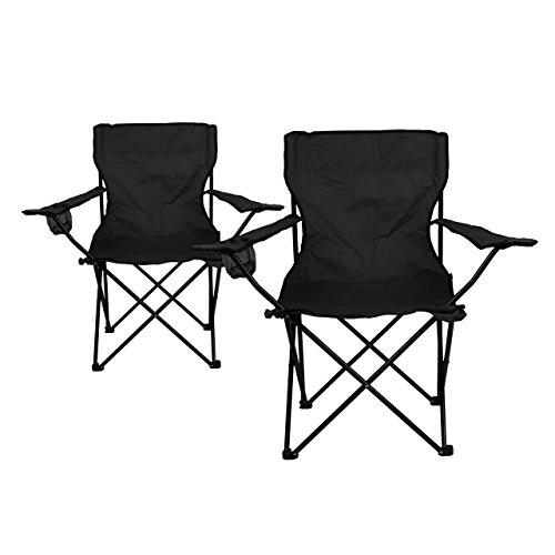 Nexos 2-er Set Angelstuhl Anglerstuhl Faltstuhl Campingstuhl Klappstuhl mit Armlehne und Getränkehalter praktisch robust leicht schwarz