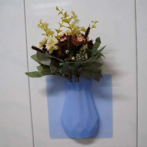 1988 vaas silicone vaas stickers aan de muur bevestigde, creatieve rubberen bloempot voor koelkast en glas naadloos aangebracht. Large blauw