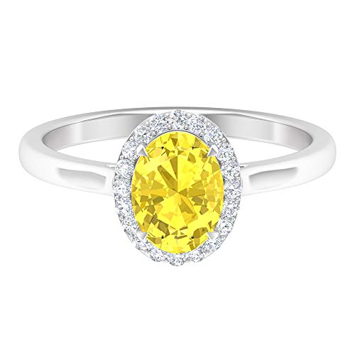 Rosec Jewels 14 quilates oro blanco ovalada round-brilliant-shape H-I Yellow Diamond zafiro sintético amarillo