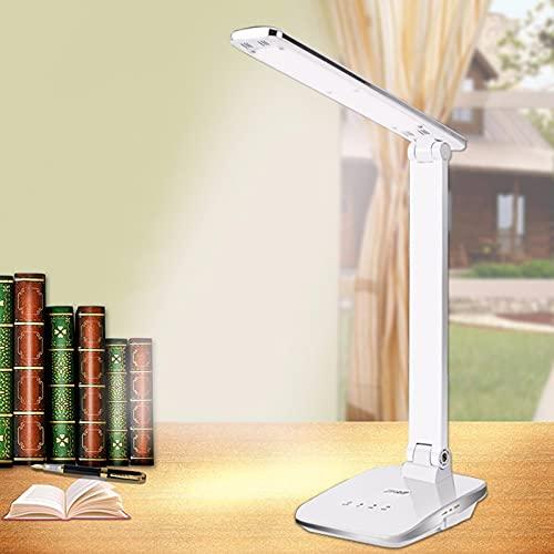 Yeah-hhi Lámpara De Escritorio LED Lámpara De Escritorio Ajustable Recargable 3 Modos De Color Atenuación Continua, para Oficina, Mesa, Estudio, Lectura