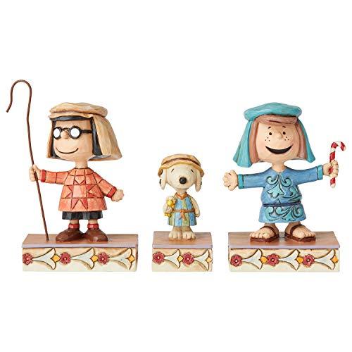 Enesco Peanuts by Jim Shore Weihnachtliches Festzug mit DREI Schäften, 11,4 cm, Mehrfarbig