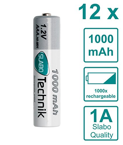Slabo NI-MH Akku AAA Micro Batterien wiederaufladbar Rechargeable Batterie HR03 Nickel-Metallhydrid 1000mAh / 1.2V - 12er-Pack