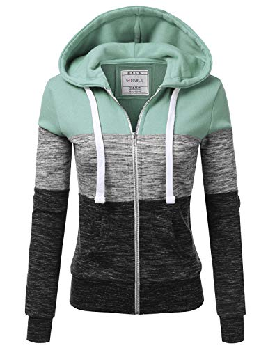Doublju Lightweight Thin Zip-Up Hoodie Jacket for Women with Plus Size Dustyblue Medium