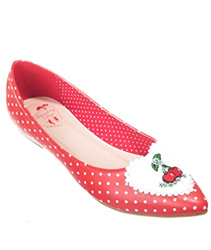 Dancing Days Damen Rockabilly Ballerinas - Everly Polka Dot Kirsche 36