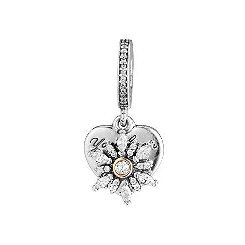 LYDXD Fit Original Pandora Charm Armbänder 925 Sterling Silber Perle Schneeflocke Herz Für Schmuck