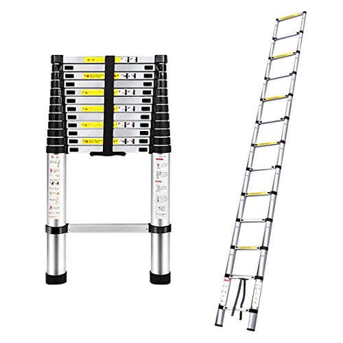 Telescoping Extension Ladder - ARCHOM Aluminum Telescopic Folding Ladder Multipurpose Lightweight Non-Slip Steps with EN131 Certificate 330 Pound Capacity (3.8M/12.5Ft)