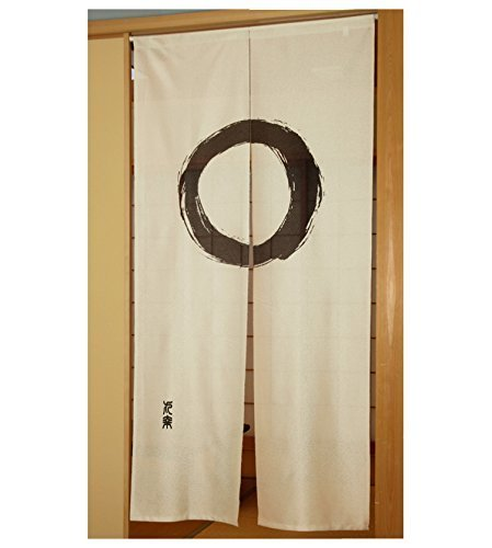 Fukui Textile Factory Noren Curtain Tapestry Enso Circle Beige Long Type