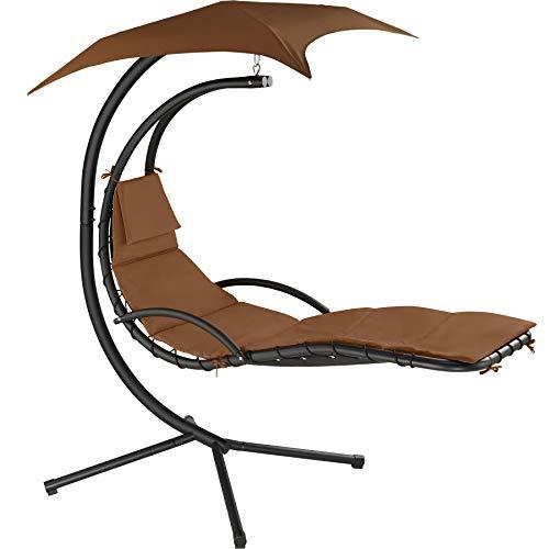 TecTake 800699 Hängeliege mit Gestell und Sonnendach mit UV Schutz, 195 x 118 x 202 cm, ergonomisch geformte Liegefläche, inkl. Sitz- und Kopfpolster - Diverse Farben – (Braun | Nr. 403075)