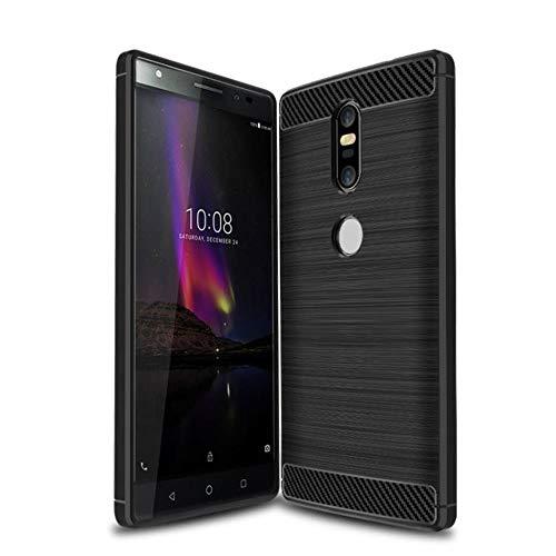 König Design Handy-Hülle kompatibel mit Lenovo Phab2 Plus Silikon Case Hülle Sturzsichere Back-Cover Handyhülle - Carbon - Schwarz