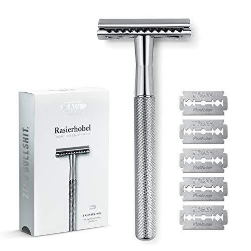 Rasierhobel für Herren · BROOKLYN SOAP COMPANY® · Hochwertiger Nassrasierer aus verchromten Metall · Für eine besonders exakte und schonende Rasur