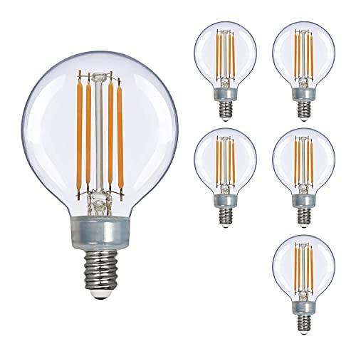 OmiBrite LED Light Bulbs 3.8W, 40W Equivalent, Candelabra E12 Base, G16.5 Filament Vintage Edison Bulb for Chandelier, Vanity Ceiling Fan, Dimmable, Warm White, 2700K, 90+CRI, 350LM, UL Listed, 6/Pack