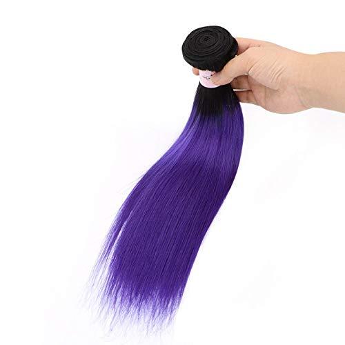 Tissage Brésilien Lisse Tie and Dye Ombré Noir Clair et Violet 40cm 16 pouces