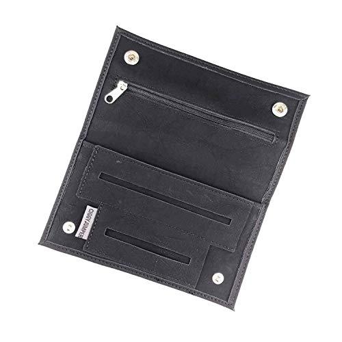 Ciggy Jumper® Portatabacco Borsello realizzata in similpelle premium con effetto pelle vintage, porta tabacco, carte da filtro singole o doppie (3.) nero lungo)