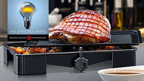 Zenker SRT Bratenblech (ca. 39 x 6 x 33 cm) Special Cooking, Bräter mit innovativer Bratensaft-Funktion, rechteckige Ofenform mit Emaille-Versiegelung, Backblech mit Auffangbehälter (Farbe: Schwarz)