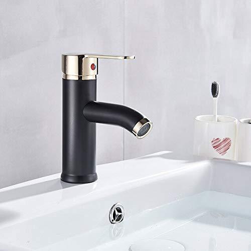 BDWS Grifo de lavabo esmerilado negro Grifo de lavabo Caliente y frío Grifo de baño de latón montado en la cubierta Grifo de lavabo de un solo orificio Australia Negro Dorado Corto