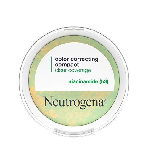 Neutrogena Clear Coverage Color Correcting Powder Makeup Compact, Mattifying CC Powder with Niacinamide & Green & Yellow Powders to Even Tone, Brighten, & Control Shine, Oil-Free, 0.38 oz