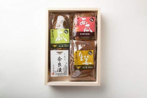 奈良漬 セット 木箱 詰め合わせ 個包装 瓜 西瓜 (すいか) 生姜 各一袋 柚子色の風呂敷包み