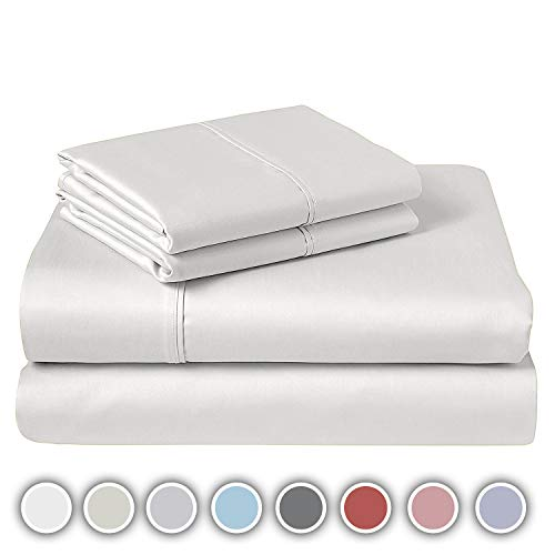 600 TC Full Sheet Bed Set 100% Pure Cotton Soft amp Silky Sateen Weave Luxury Bedding Fits Mattress Upto 17quot Deep Pocket 4 Piece Sheets and Pillowcases Set  Full White