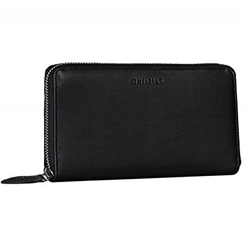 STILORD \'Emilia\' Damen Portemonnaie Elegante Klassische Geldbörse groß aus echtem Rindsleder, Quer mit Reißverschluss Leder, Farbe:schwarz