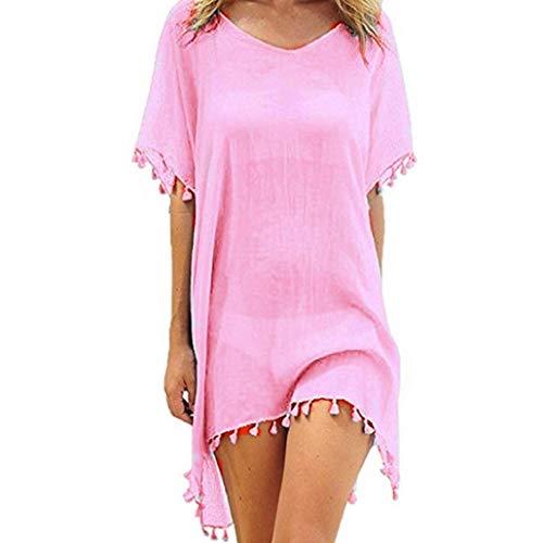 heekpek Ropa de Baño Playa Mujer de Gasa Moda con Borla Trajes de Baño Cubrir Bikini Cover Up Color Sólido Kaftan Vestidos Pareos Playa