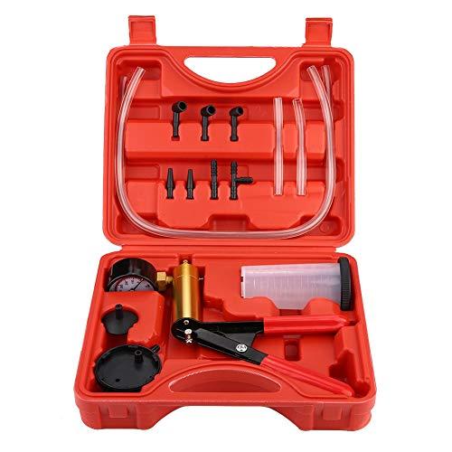 Handvakuumpumpe Auto-Druckprüfer-Kit Bremsentlüftungs-Testwerkzeug mit Vakuummeter und Adapter für Bremsentlüftungs-Kit für PKW