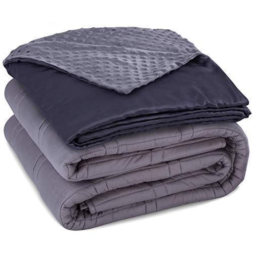 CoziRest Cooling Weighted Blanket Deluxe Set | 20 lbs 60x80 | Double Stitched Heavy Comforter with Dual Sided Cool Bamboo and Warm Minky Removable Cover. Best Calming Quilt for Adults from 190-260 lb