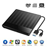 Externes CD DVD Laufwerk, USB 3.0 und USB C-Anschluss Tragbare CD DVD +/- RW-Laufwerk Schlankes DVD-/CD-ROM-Brenner-Writer-Re-Writer Kompatibel mit Laptop-Desktop Windows/Mac OS/Linux (Black)
