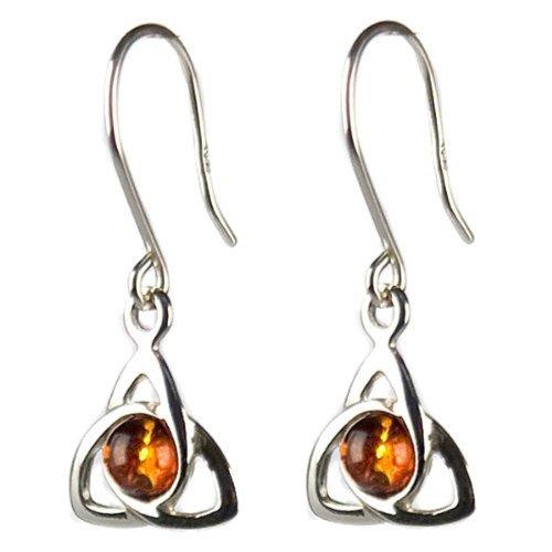 Honey Amber Sterling Silver Small Celtic Earrings