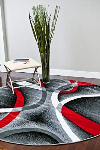2305 Gray Black Red White Swirls 6 feet 5 inch Diameter Modern Abstract Area Rug