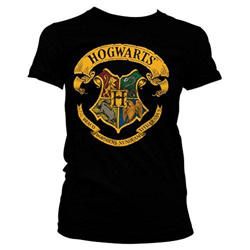 HARRY POTTER Camiseta Oficial de Mujer con Licencia Oficial Hogwarts House Crests