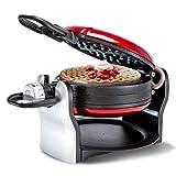 YFGQBCP Flip Belga Waffle Maker, 180 ° Rotante con Piatti Rimovibili antiaderenti, Controllo di doratura Delizioso in Modo Uniforme, Vassoio antigoccia, Acciaio Inossidabile, Cucina Fino a 4 Waffle