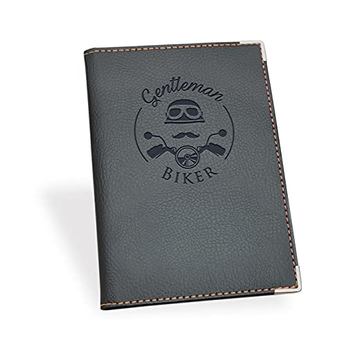 Porta Documenti Auto per Assicurazione, Patente, Carta di Circolazione, Nuove dimensioni : 17,5 x 13 cm, GENTLEMEN BIKER