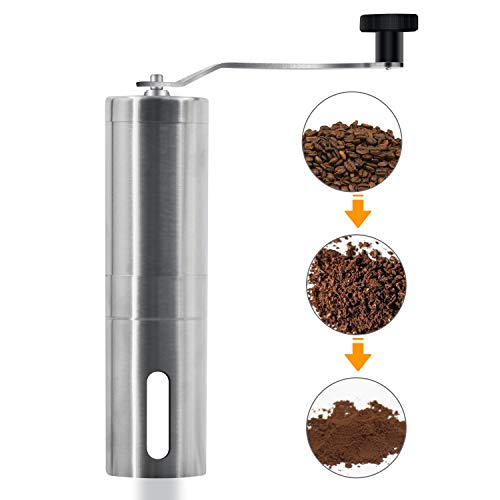 Manual Coffee Grinder - Hand Grinder Coffee Mill, Conical Ceramic Burr Mill for Precision Brewing...
