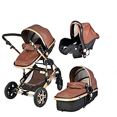 HZPXSB 3 en 1Stroller Baby Luxury Baby Stroller High Landscape Baby Carriage PU Material con Asiento de Coche (Color : Coffee PU)