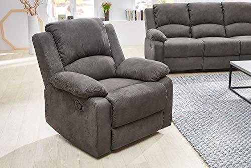 lifestyle4living Relaxsessel in Anthrazit, Vintage Stoffbezug, Federkern-Polsterung | Perfekter Sessel für entspannte Fernsehabende