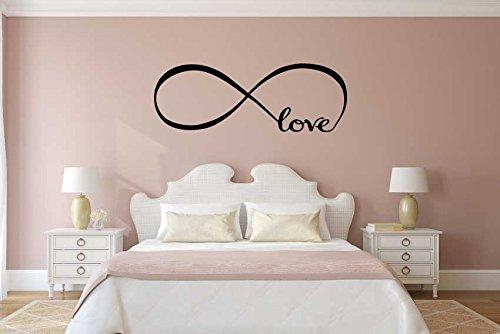 Adesivi Murales, arredamento camera da letto Wall Stickers Decor Infinity Simbolo Parola Amore arte del vinile muro (MEDIUM 135X28 CM, NERO) Adesivo4You