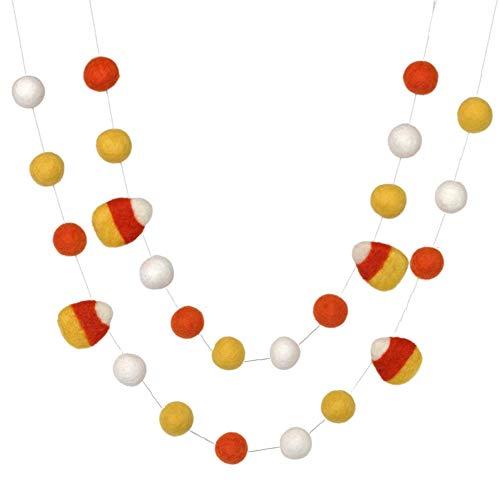 Candy Corn Felt Ball Garland- Orange, Golden Yellow, White- Pom Pom- Fall Autumn Halloween Trick or Treat Decor